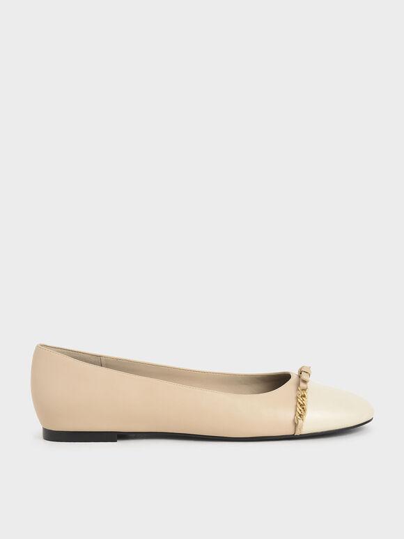 金屬鍊平底鞋, 膚色, hi-res