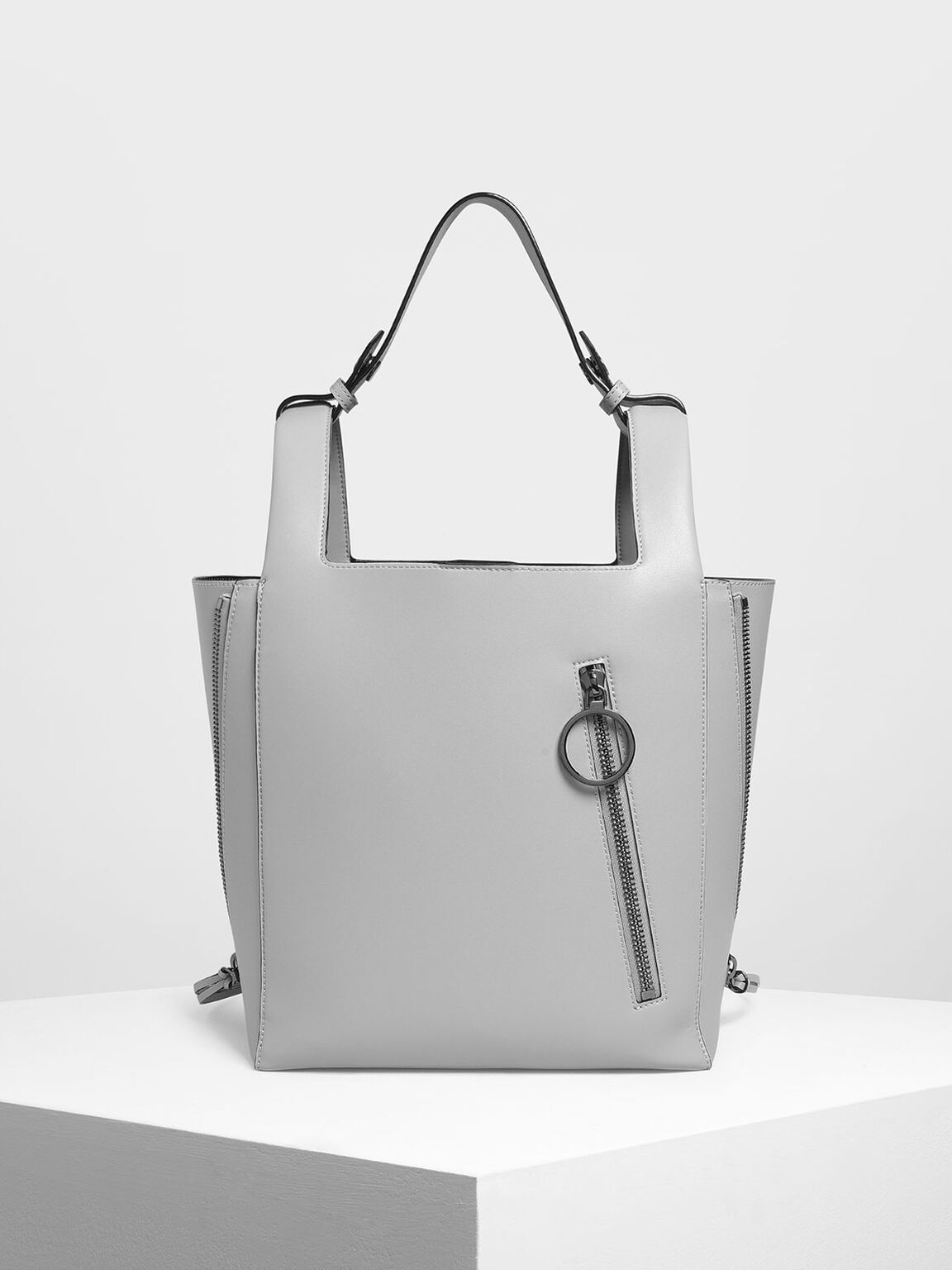 Ring Zip Pocket Square Handle Large Tote, Grey, hi-res