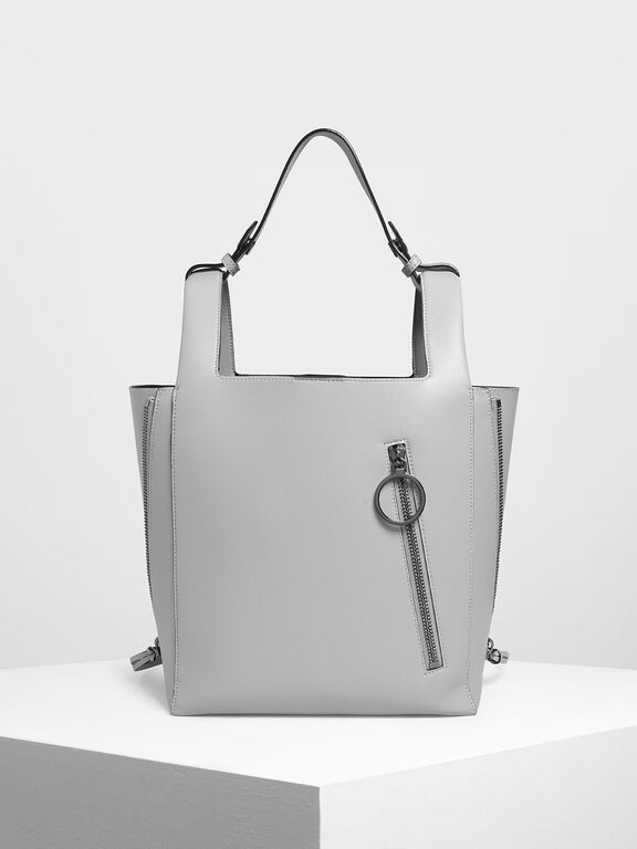 Ring Zip Pocket Square Handle Large Tote, Grey