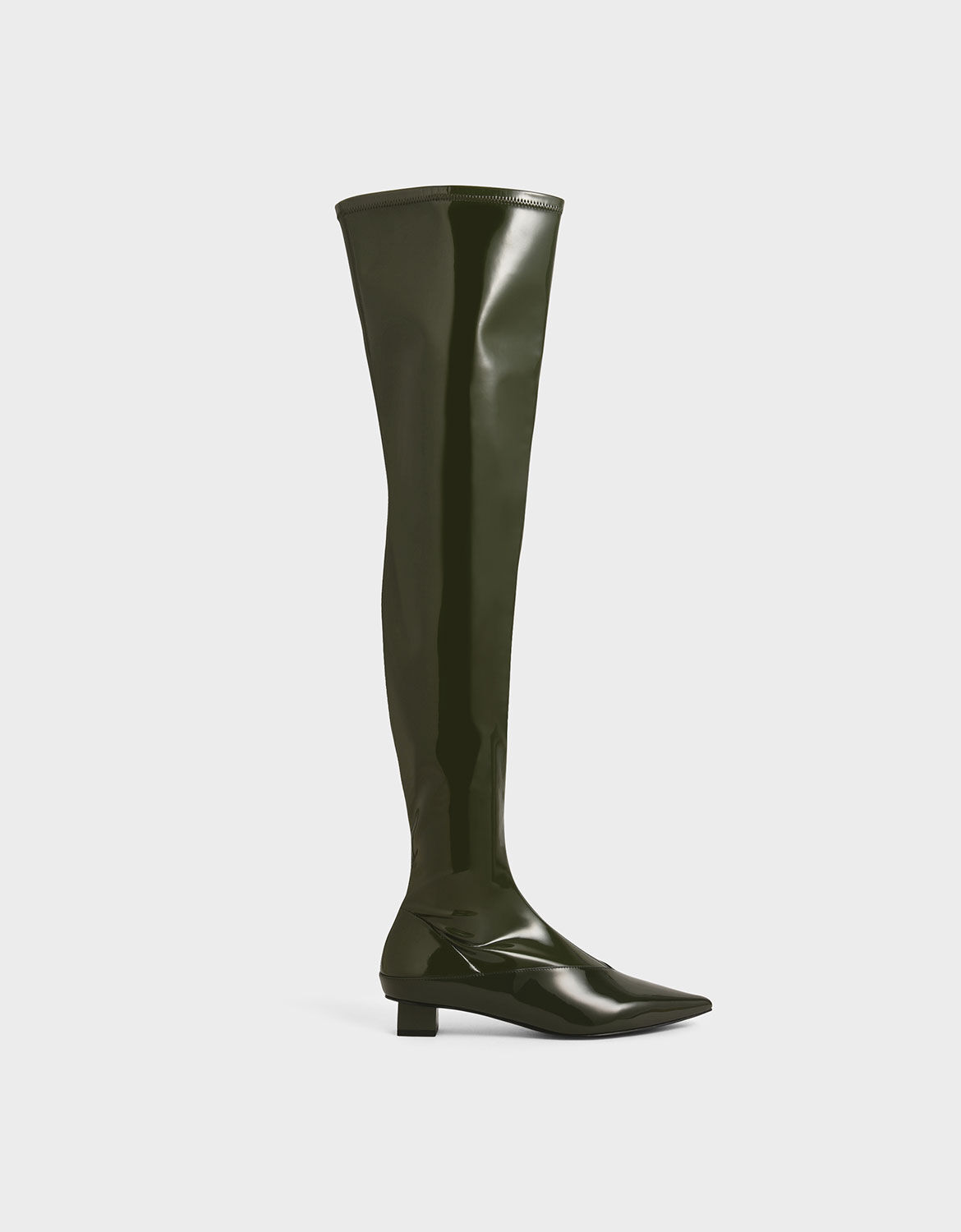 Green Thigh High Patent Boots | CHARLES