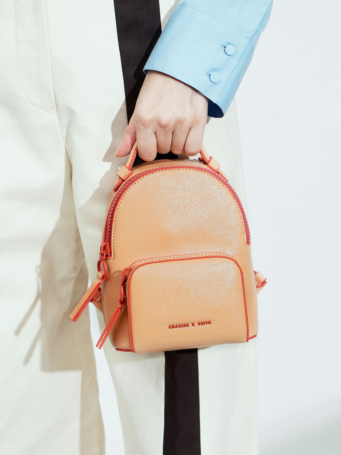 Mini Double Zip Backpack, Nude, hi-res