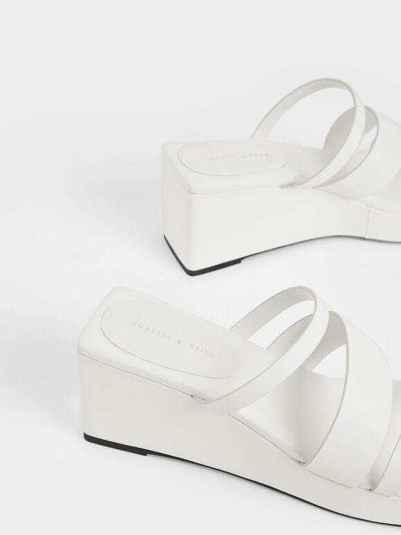 Asymmetric Platform Wedges, White, hi-res
