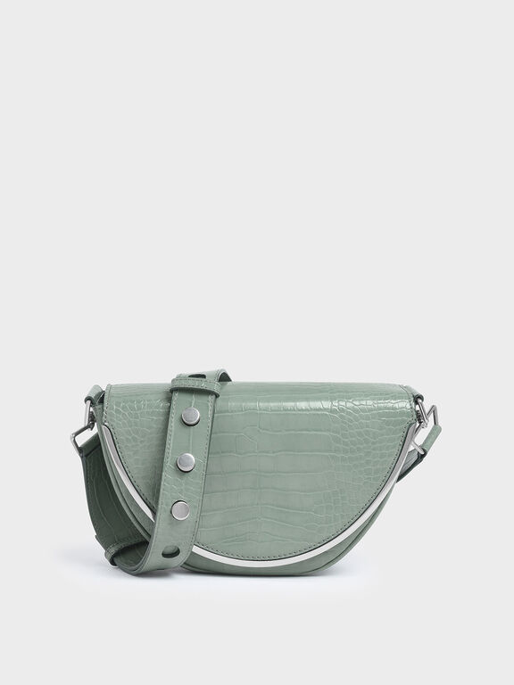Croc-Effect Semi-Circle Crossbody Bag, Sage Green