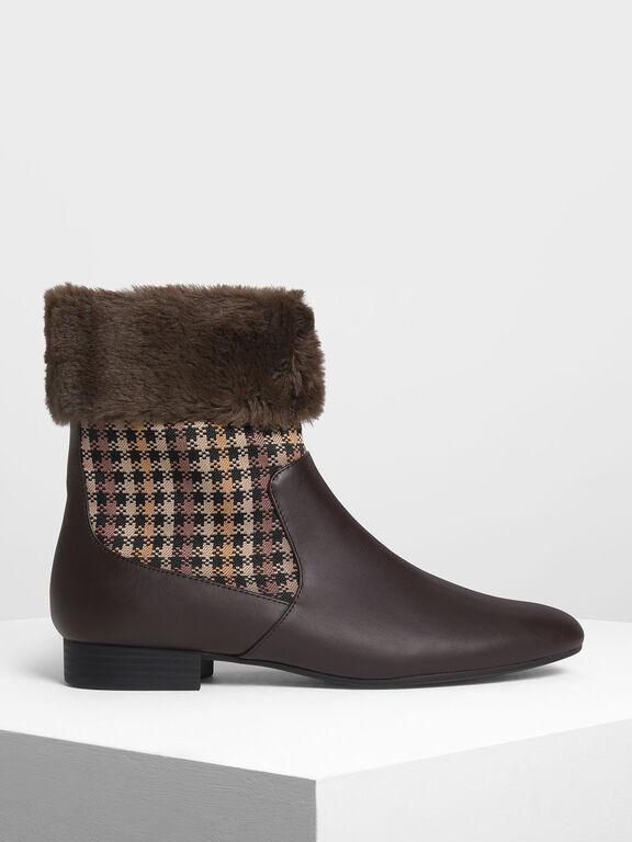 Furry Cuff Printed Boots, Dark Brown