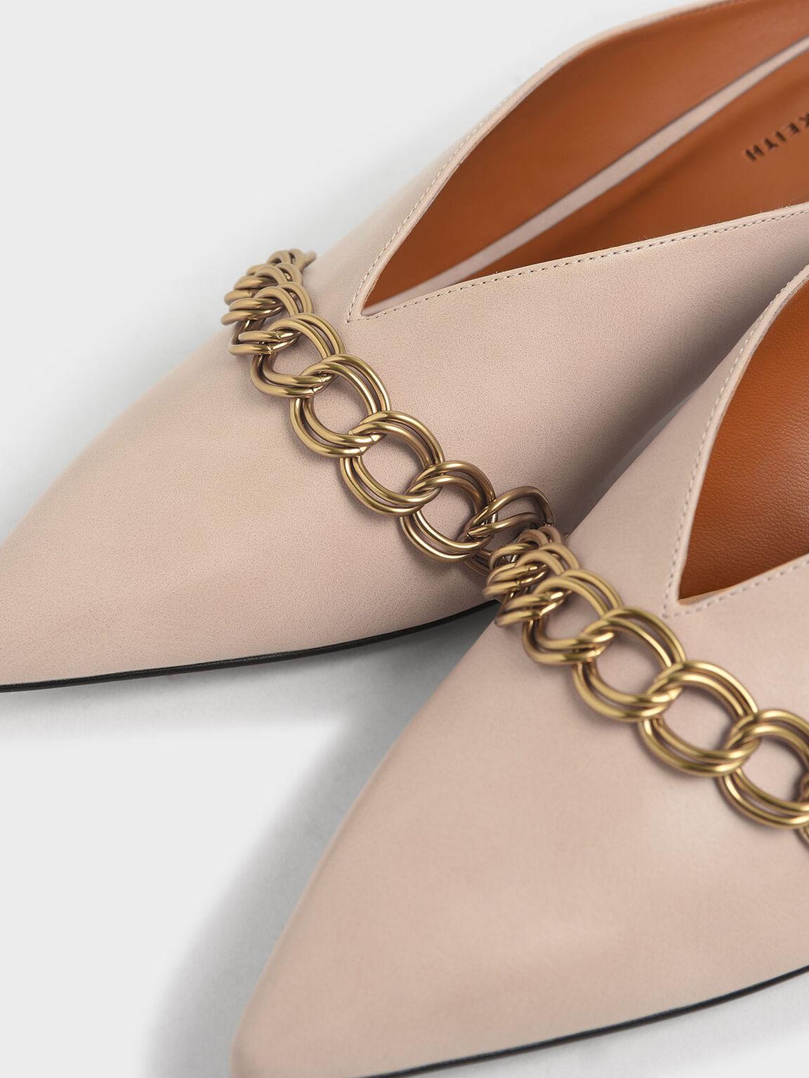 Chain Strap V-Cut Mules, Beige, hi-res