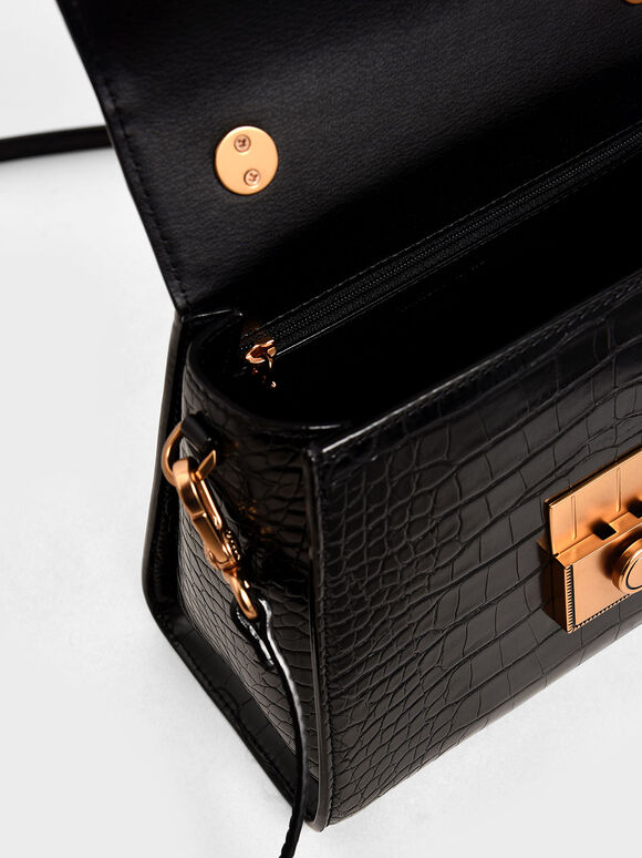 Croc-Effect Structured Bag, Black, hi-res