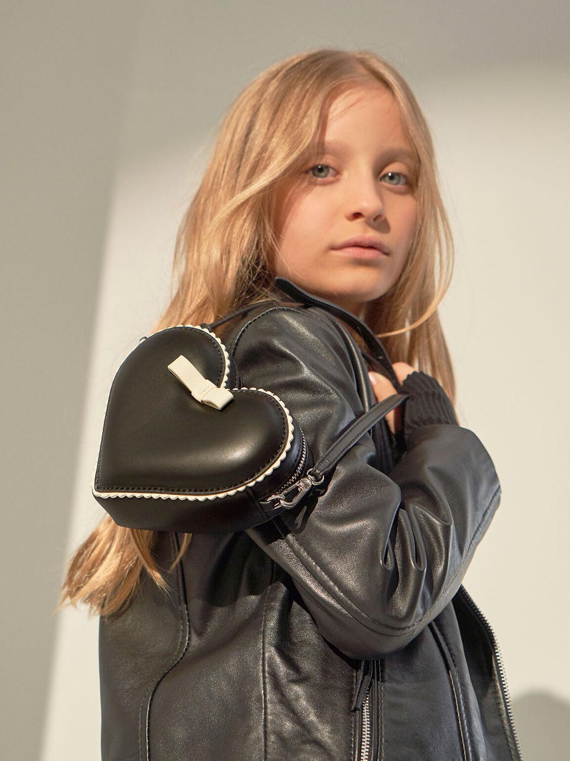 Heart-Shaped Crossbody Bag, Black, hi-res