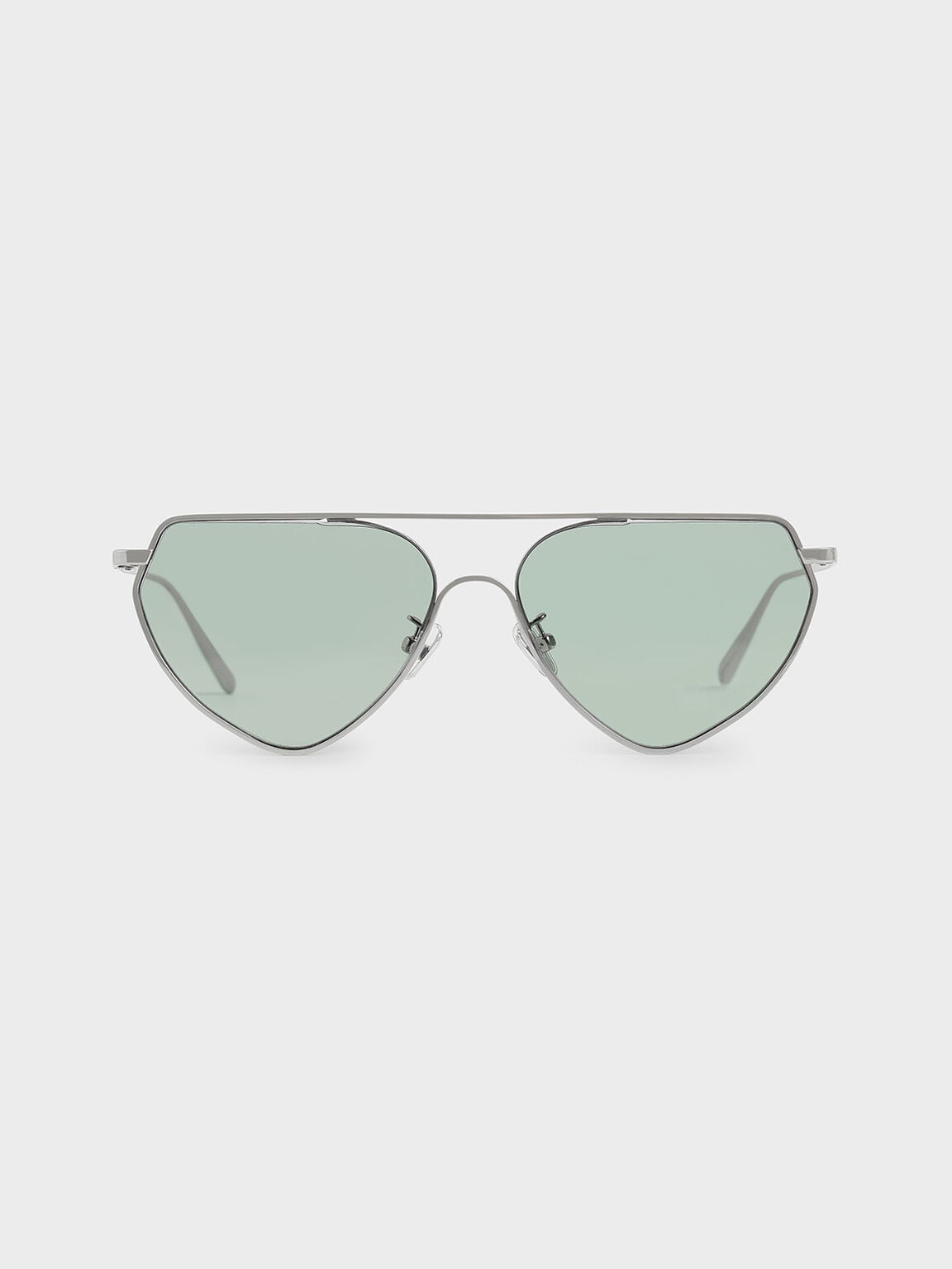 Thin Metal Frame Geometric Sunglasses, Green, hi-res