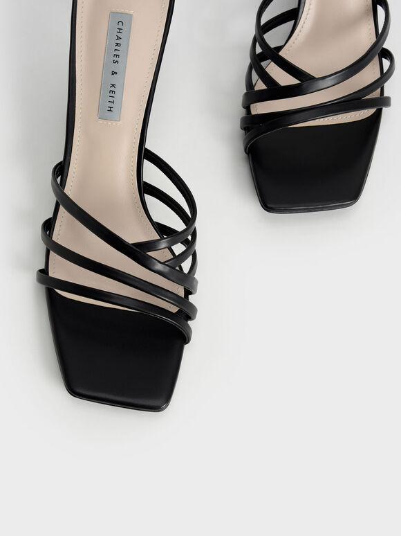 Strappy Square Toe Mules, Black, hi-res