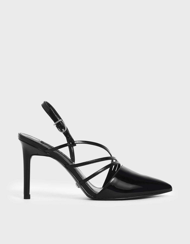 Black Patent Leather Strappy Slingback