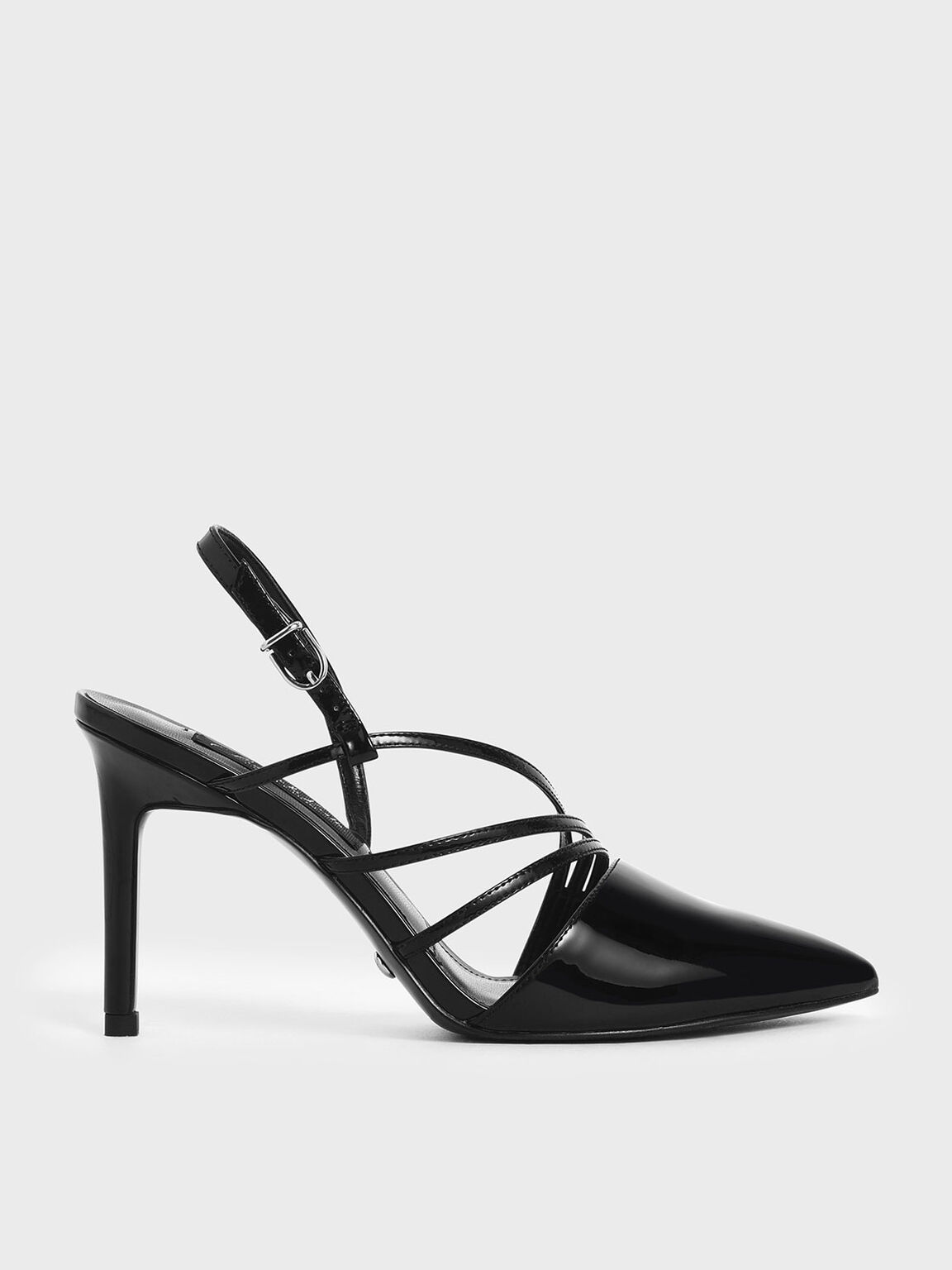 Patent Leather Strappy Slingback Heels, Black, hi-res