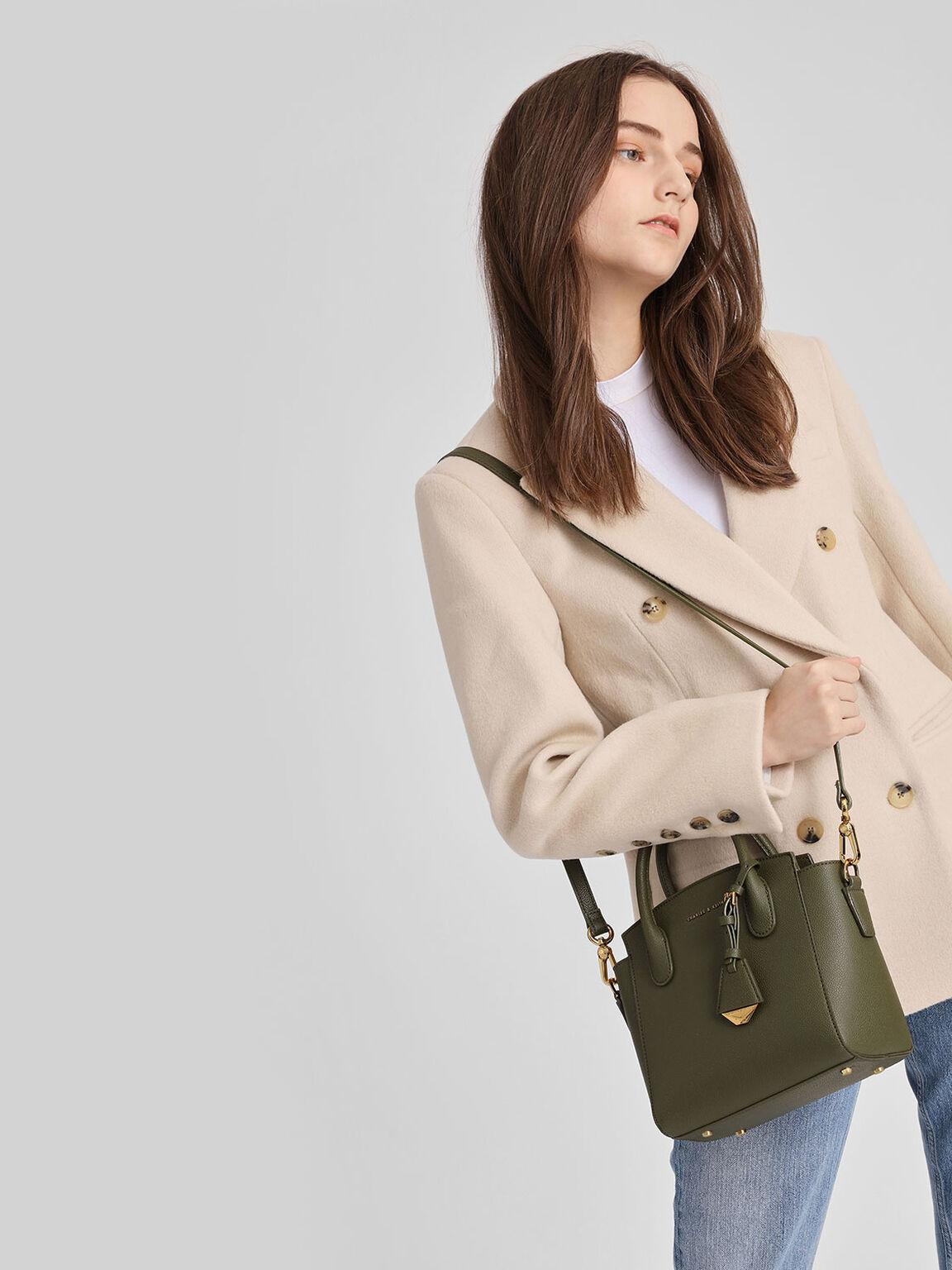 Classic Top Handle Handbag, Olive, hi-res