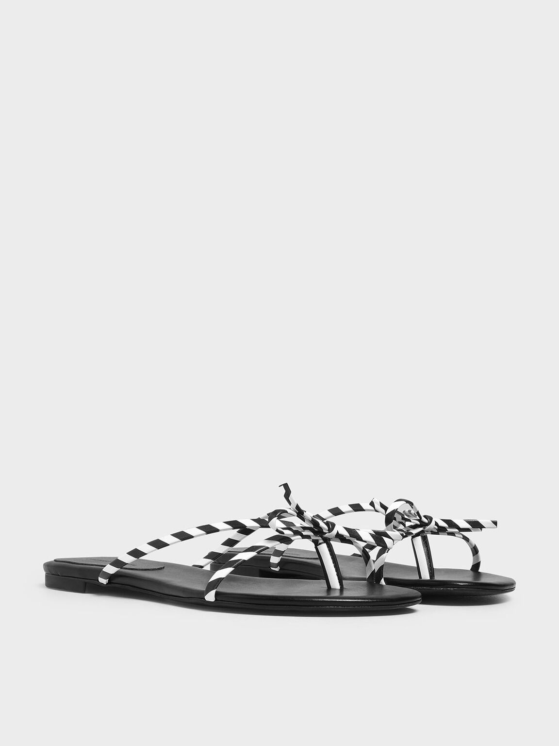 Strappy Bow Black And White Stripe Thong Sandals, Black, hi-res