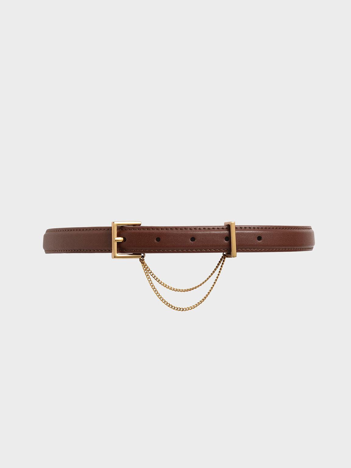 Chain Link Mid Waist Belt, Brown, hi-res