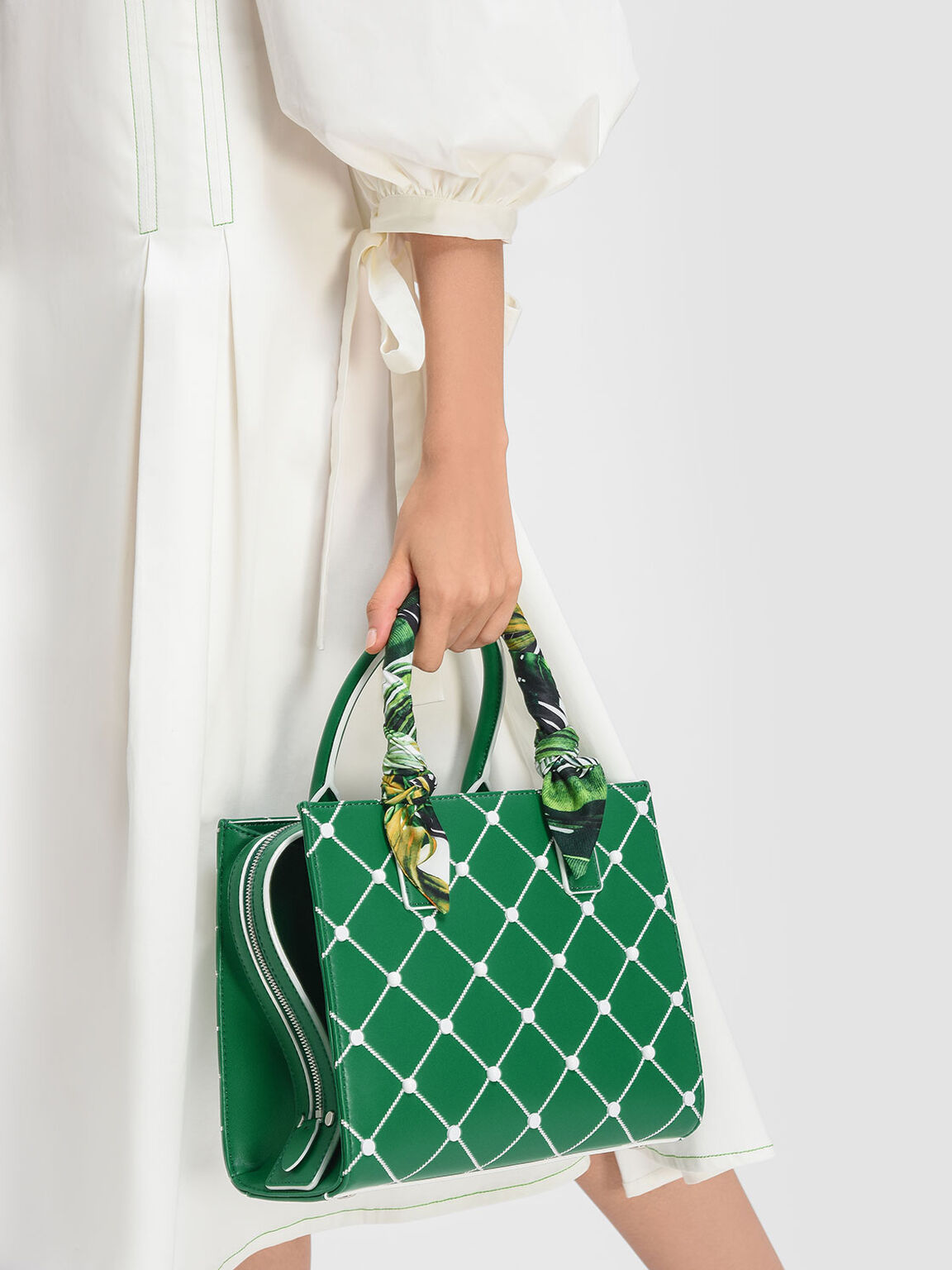 Scarf Wrapped Handle Quilted Tote, Green, hi-res