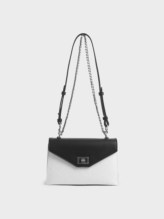 Two-Tone Wrinkled Effect Envelope Bag, White, hi-res