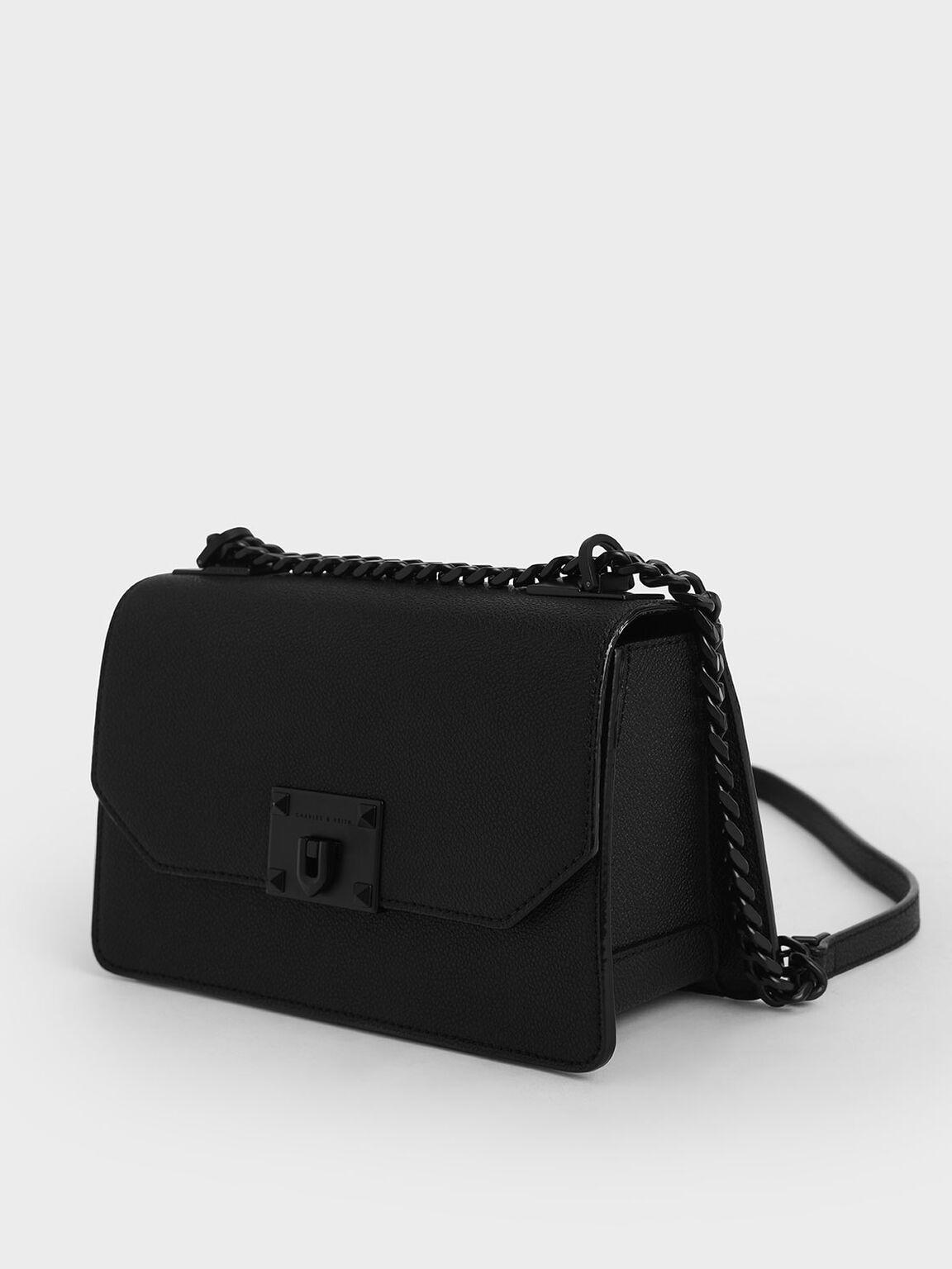 Metallic Push-Lock Crossbody Bag, Ultra-Matte Black, hi-res