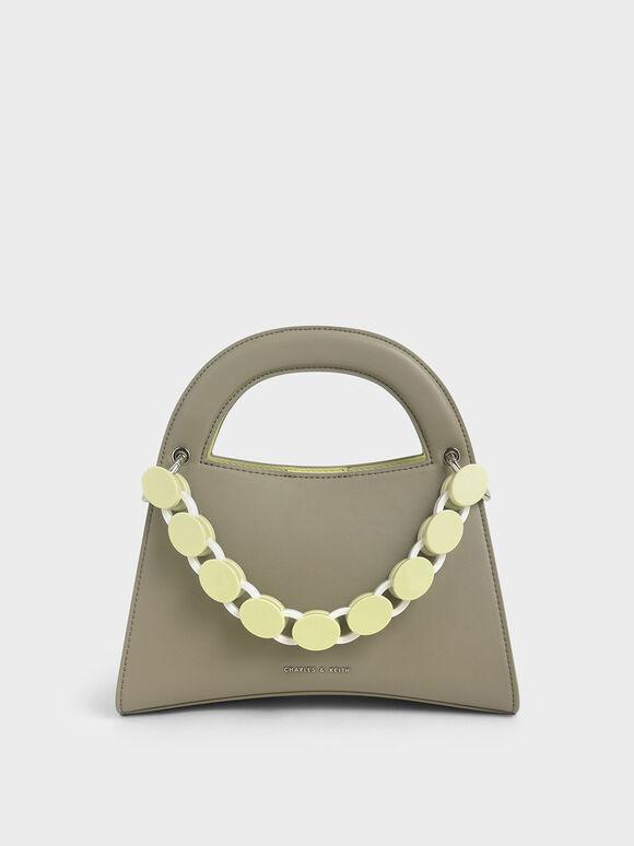 Acrylic Top Handle Sculptural Bag, Grey, hi-res