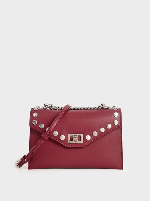 Studded Crossbody Bag, Berry, hi-res