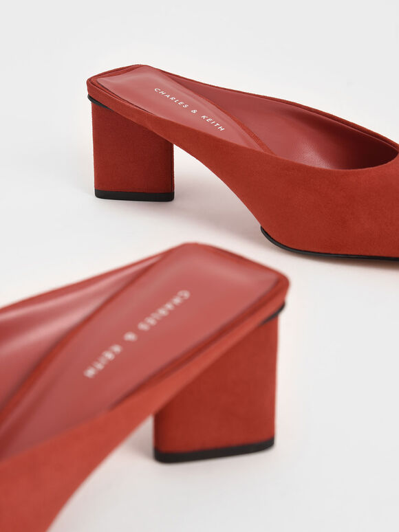 Textured Square Toe Mules, Brick, hi-res