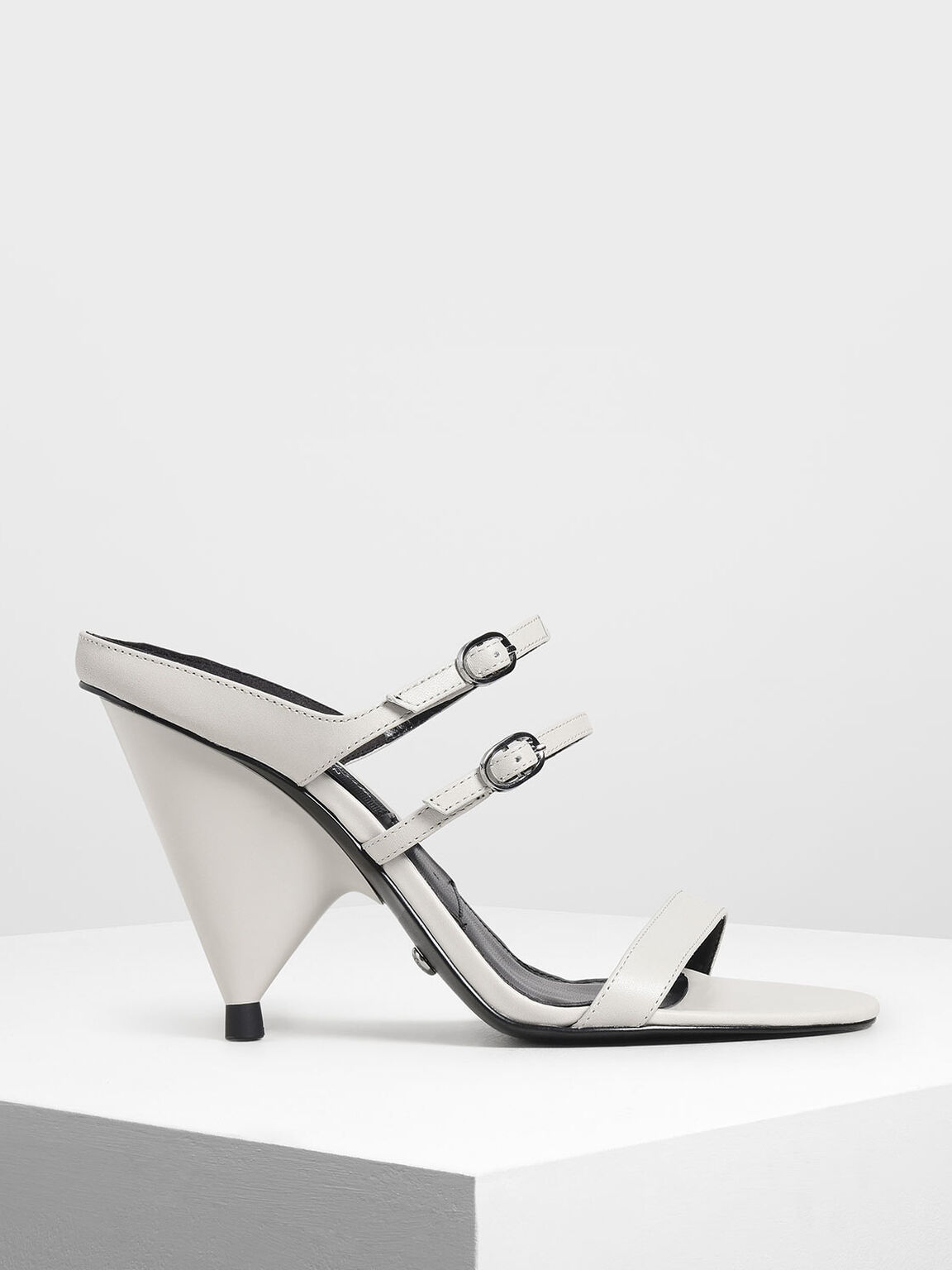 Leather Double Strap Mary Jane Cone Heels, Chalk, hi-res