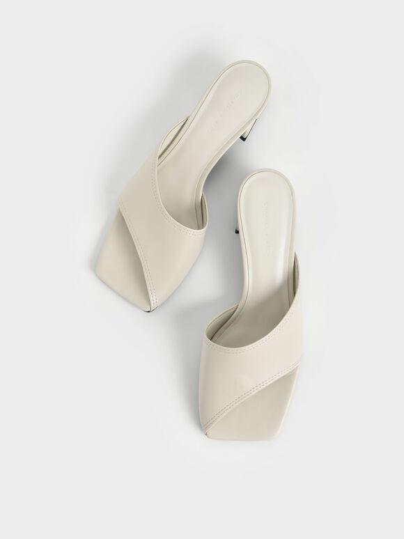 Trapeze Heel Asymmetric Mules, Chalk, hi-res