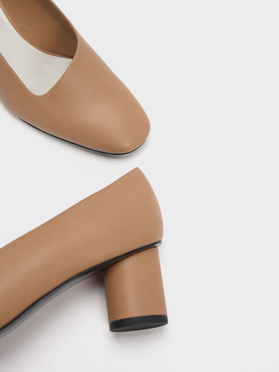Asymmetric-Cut Cylindrical Heel Pumps, Sand, hi-res