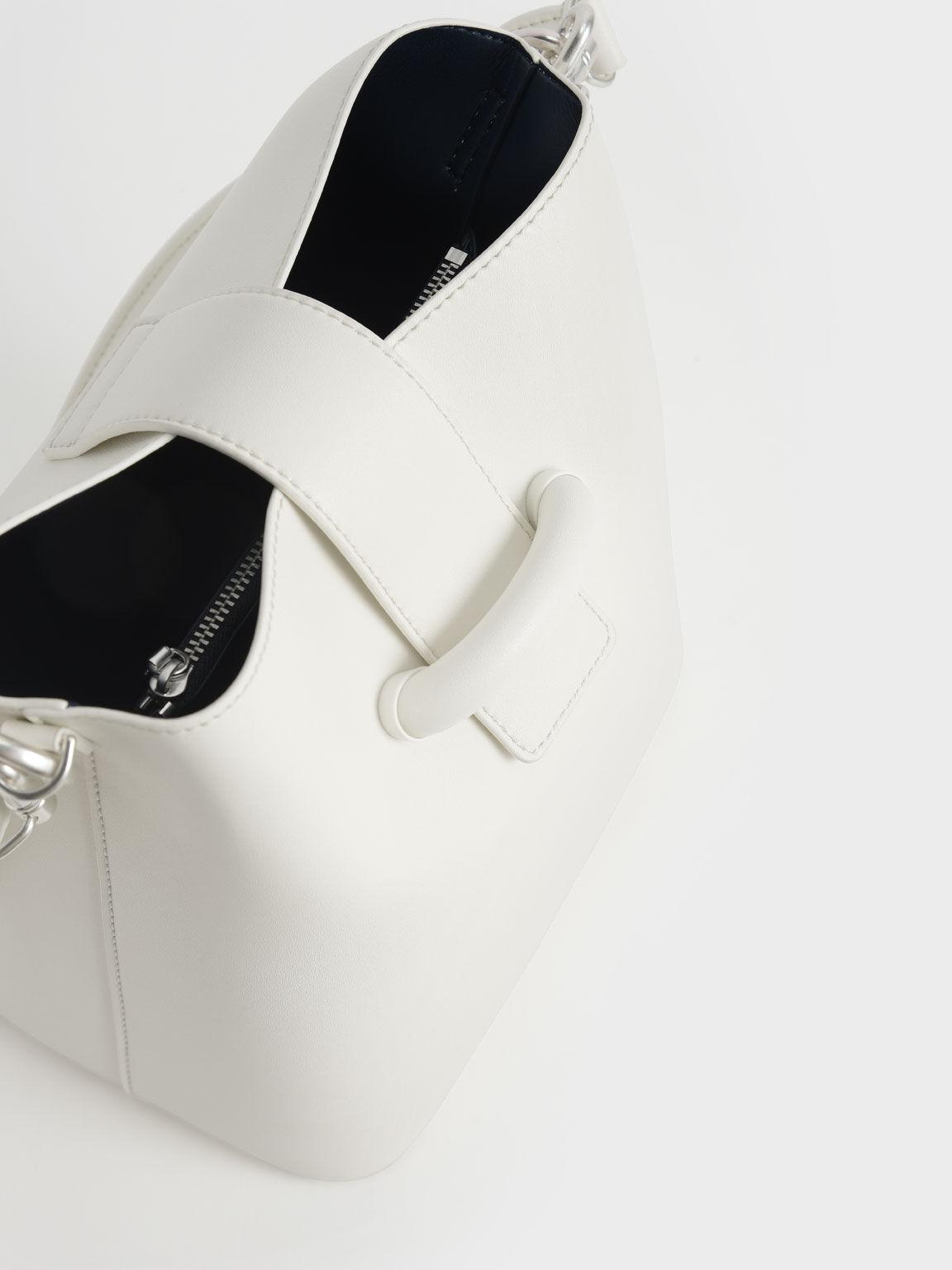 Chain Handle Bucket Bag, White, hi-res