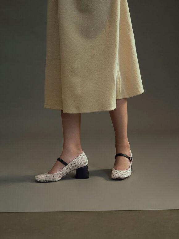 Tweed & Leather Mary Janes, Cream, hi-res