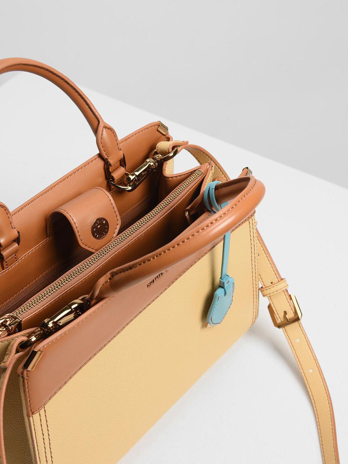 Double Handle Classic Handbag, Yellow, hi-res