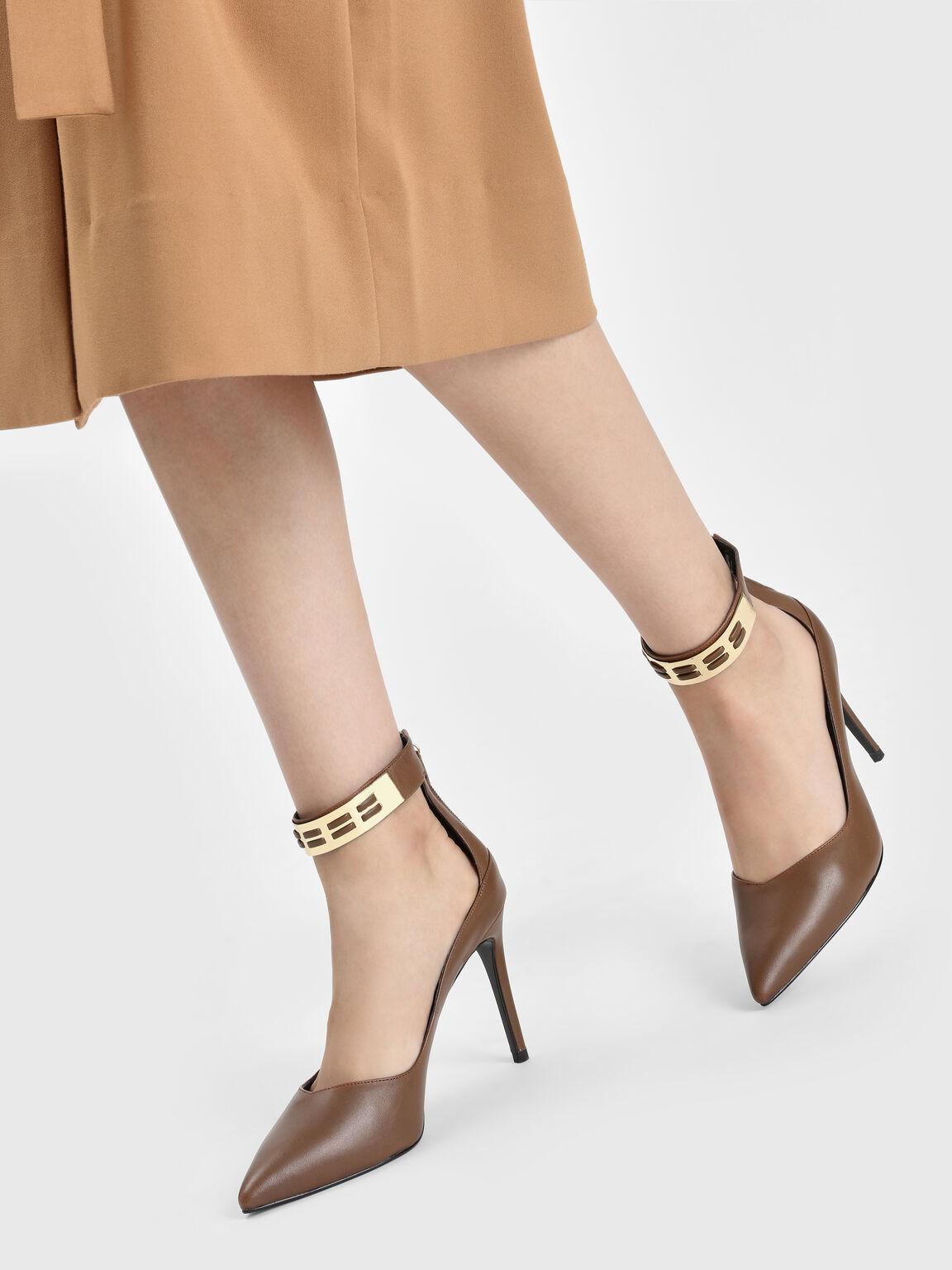 Metallic Cuff Leather Heels, Cognac, hi-res