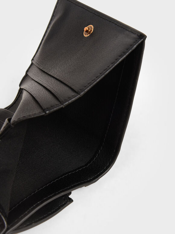 Zip Around Short Wallet, Black, hi-res