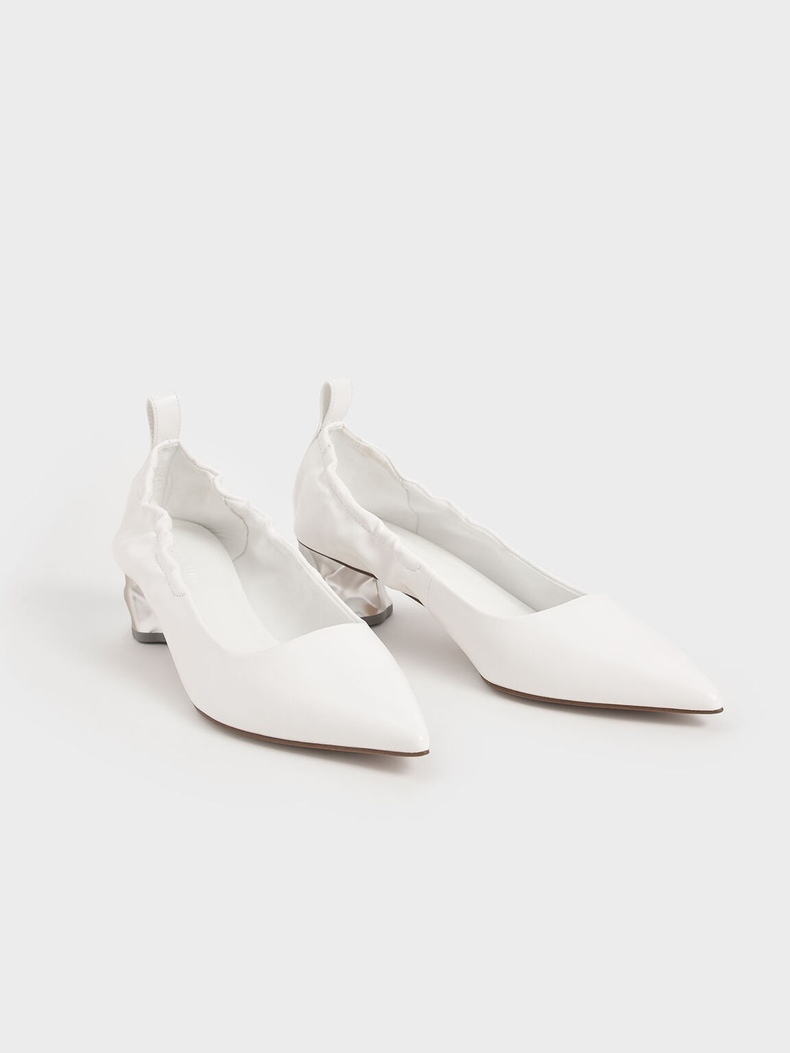 Ruched Sculptural Heel Pumps, White, hi-res