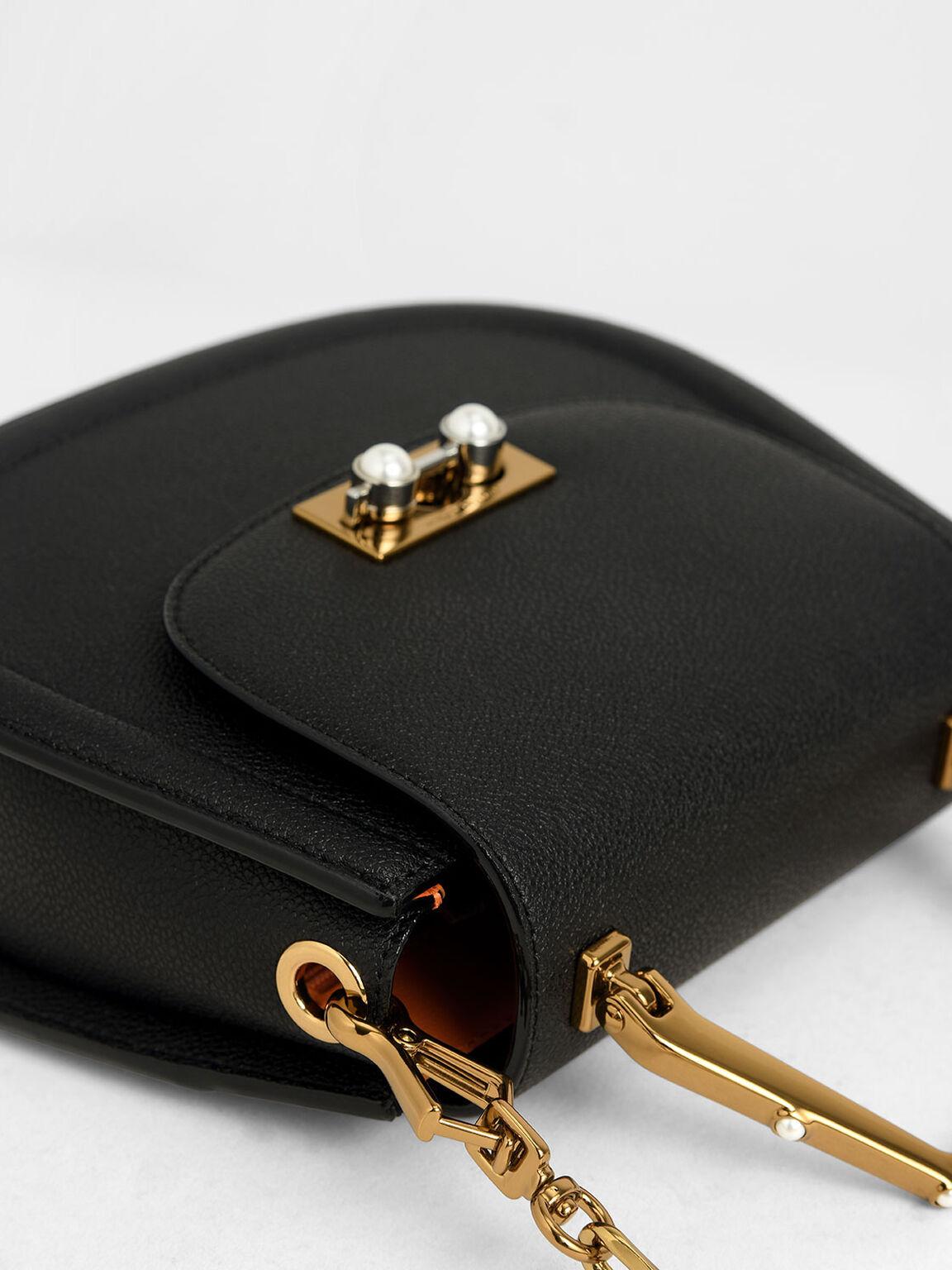 Geometric Top Handle Saddle Bag, Black, hi-res