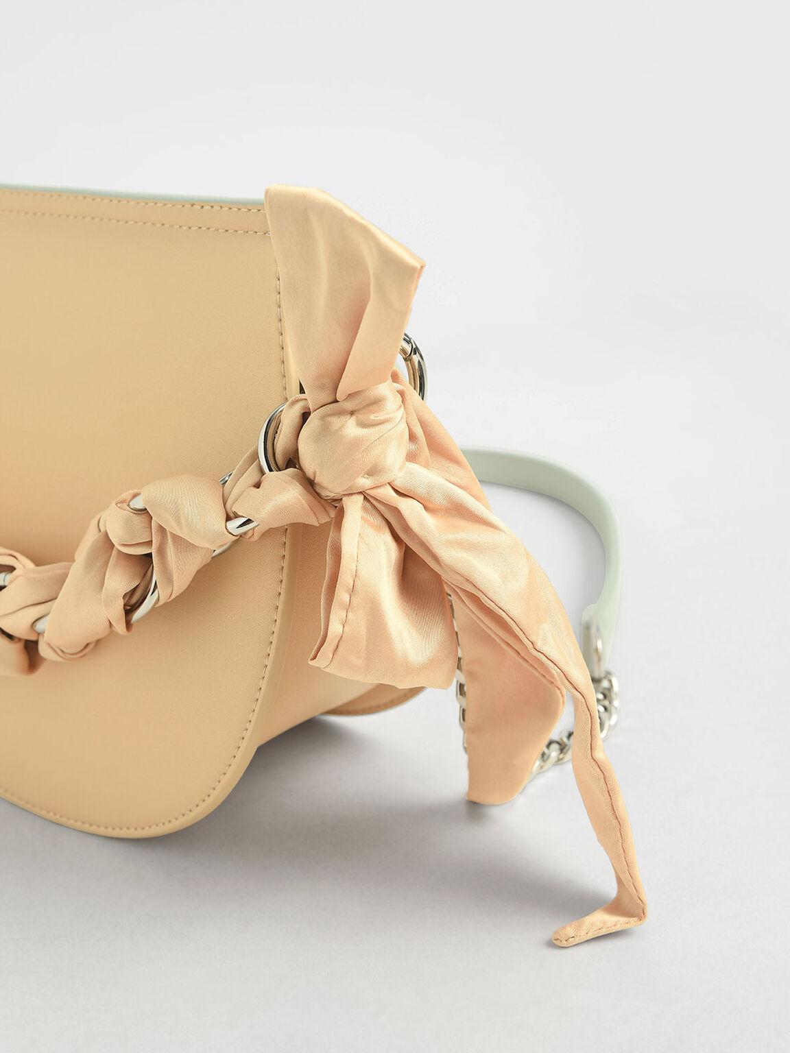 Satin Scarf Semi Circle Bag, Mint Green, hi-res
