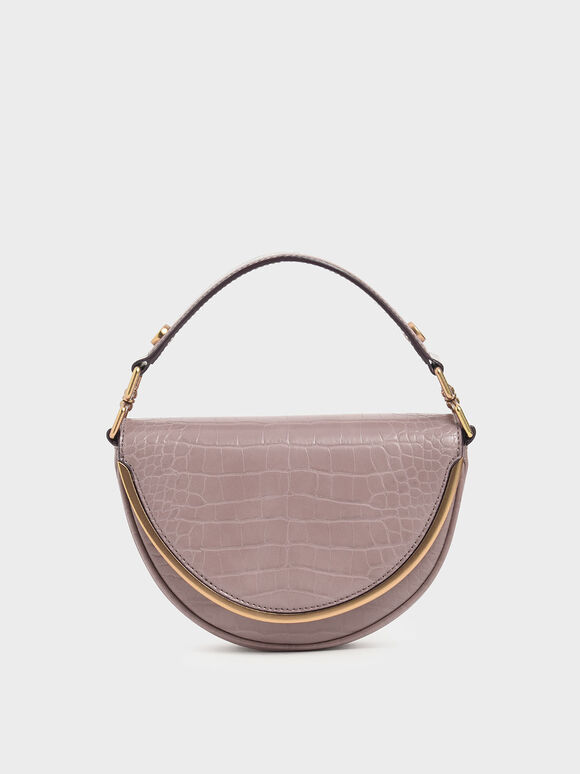 Croc-Effect Top Handle Semi-Circle Bag, Mauve, hi-res