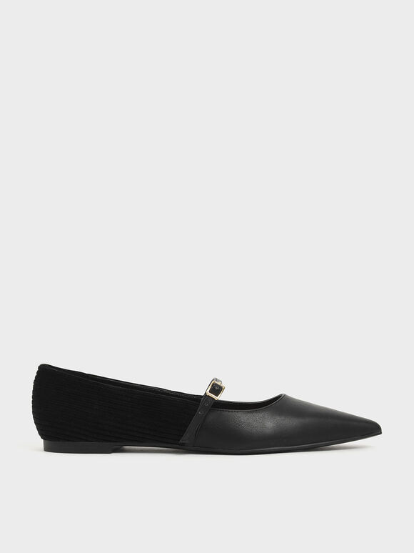 Pointed Toe Corduroy Mary Jane Flats, Black, hi-res