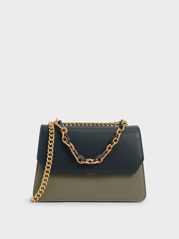 Swarovski Crystal Embellished Shoulder Bag, Sage Green, hi-res