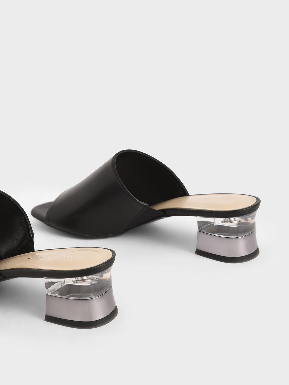 Metallic Effect Block Heel Mules, Black, hi-res
