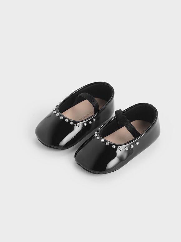 Baby Girls' Embellished Trim Patent Mary Jane Flats, Black, hi-res