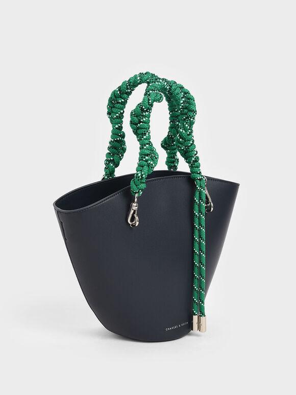Rope Handle Trapeze Tote, Dark Blue, hi-res