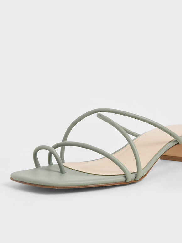 Strappy Toe Ring Sandals, Sage Green, hi-res