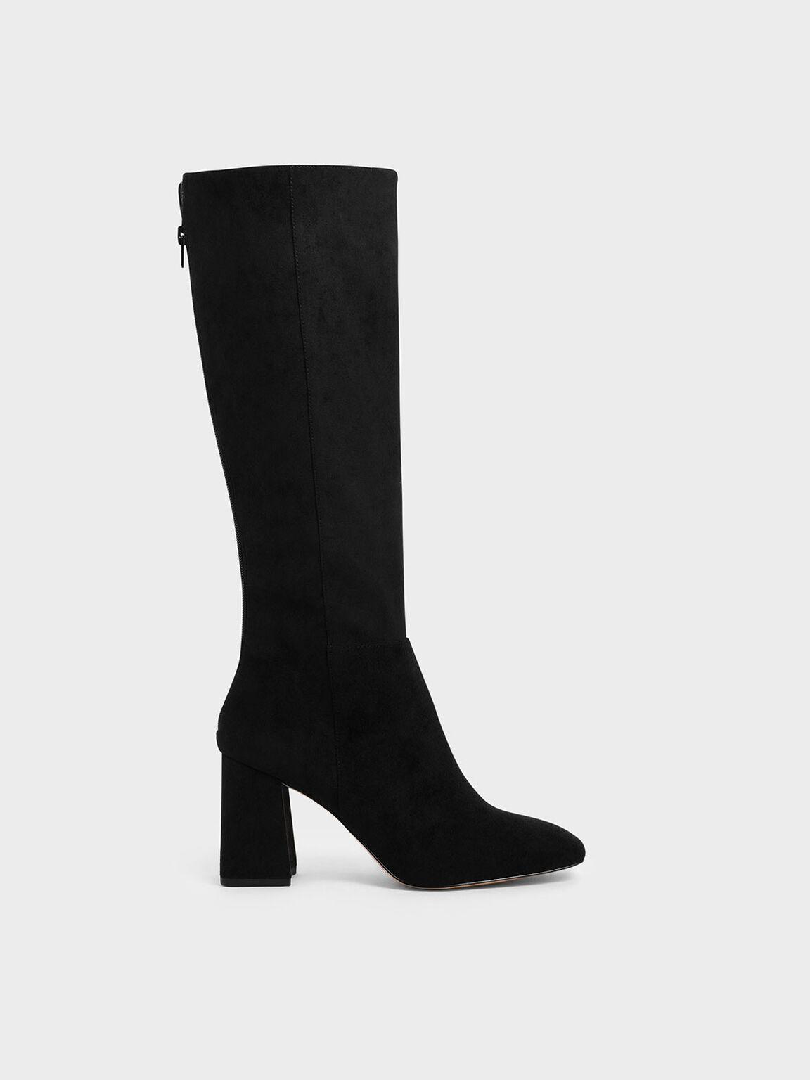 Textured Knee High Block Heel Boots, Black, hi-res