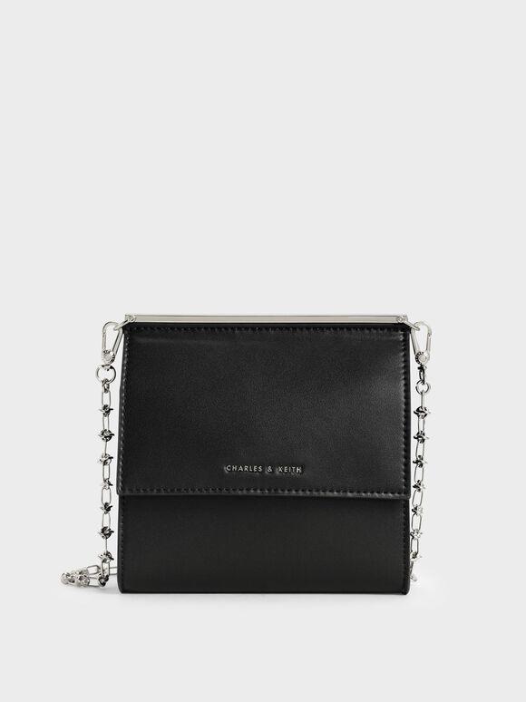 Front Flap Boxy Bag, Black, hi-res
