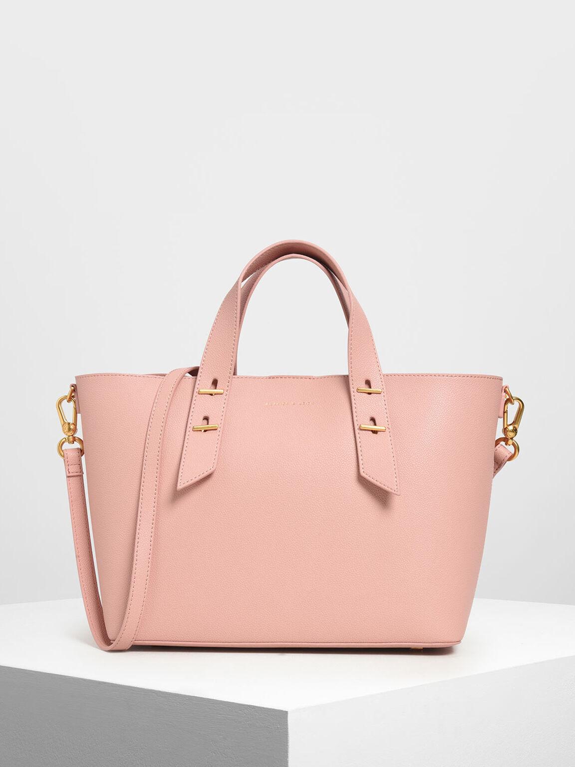 Metal Stud Detail Top Handle Bag, Pink, hi-res