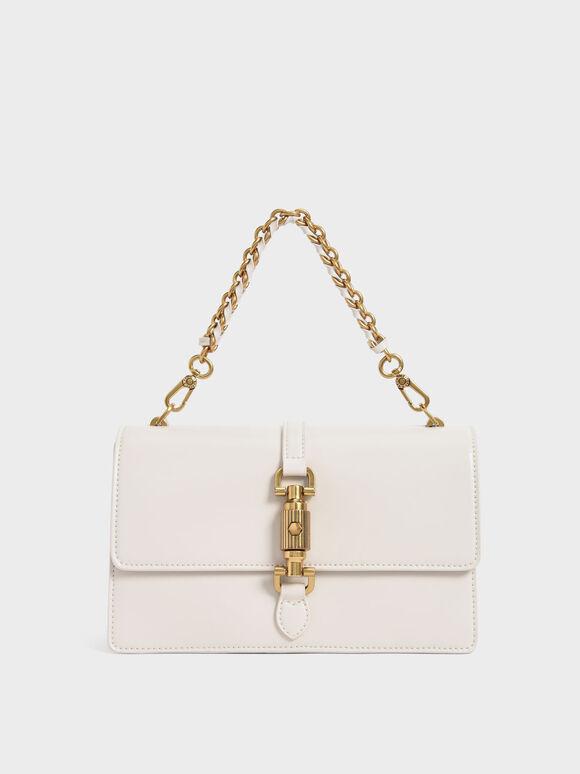 Single Chain Handle Shoulder Bag, Cream, hi-res