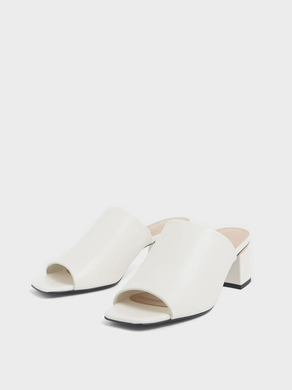 Block Heel Slide Sandals, Chalk