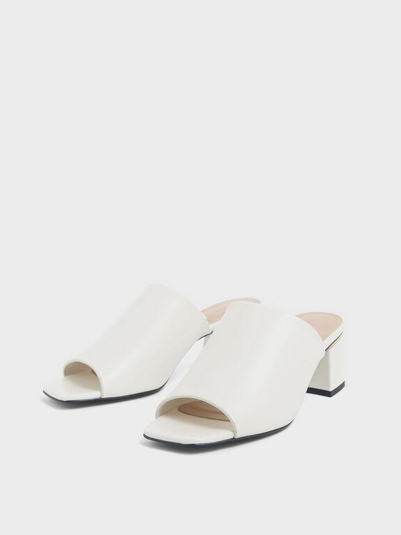 Block Heel Slide Sandals, Chalk, hi-res