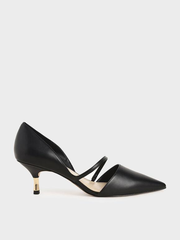 側挖空細跟鞋, 黑色, hi-res