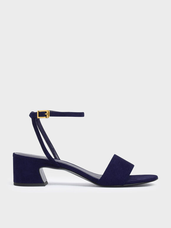 Curved Block Heel Ankle Strap Sandals, Blue, hi-res